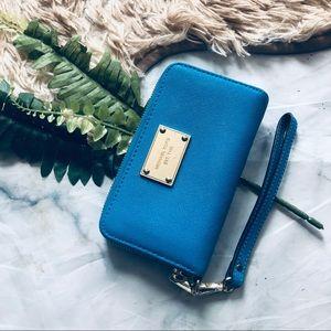 Michael Kors Blue Zip Around Wallet